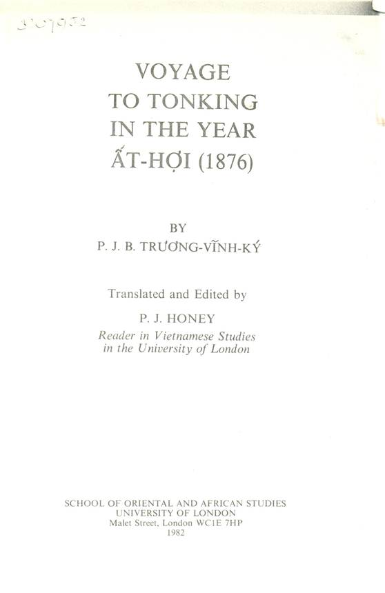 Voyage to Tonkin In The Year Át Hợi 1876