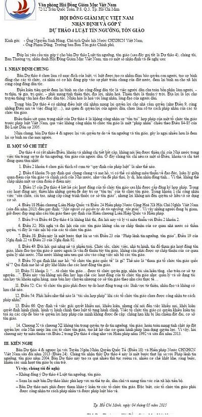 Nhận định và góp ý dự thảo 4 Luật Tín Ngưỡng, Tôn giáo