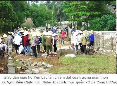 đập phá tường rào, lấn chiếm khuôn viên Trường mầm non xã Nghi Kiều (Nghi Lộc, Nghệ An)