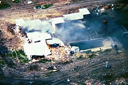 The Mount Carmel Center in flames during the assault on April 19, 1993.