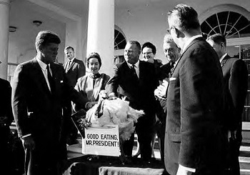 "JFK was given a turkey with a sign ""Good Eating, Mr President"""